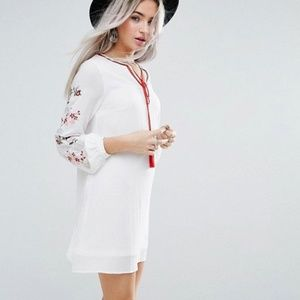 ASOS White Swing Dress with Embroidered Sleeve